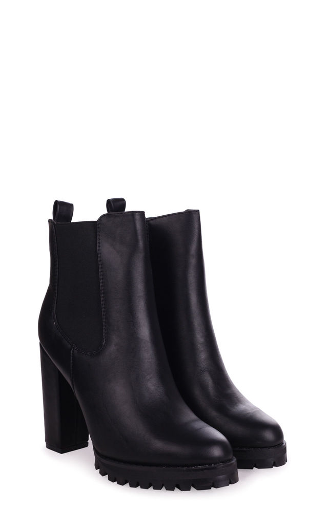 Shimmy Black Nappa Heeled Ankle Boot With Block Heel & Cleated Sole by Linzi