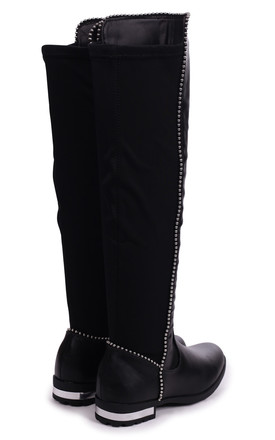 Zora Black Nappa Long Boot With Studded Detailing & Lycra Back by Linzi