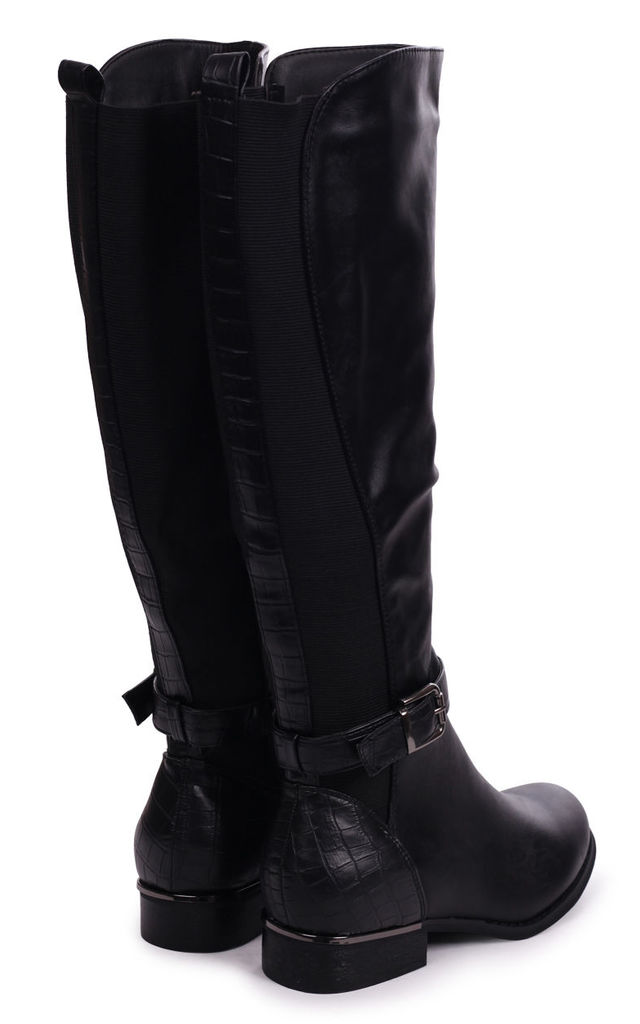 Pura Black Nappa Riding Boot With Croc Back & Elasticated Sides by Linzi