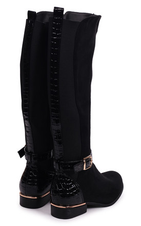 Pura Black Suede Riding Boot by Linzi