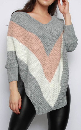 Stripe V-neck Jumper Grey by MISSI LONDON