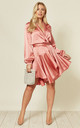 Silky Wrap Dress Dusty Pink by Another Look