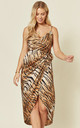 Tie Side Wrap Silky Dress in Tiger Print by Another Look