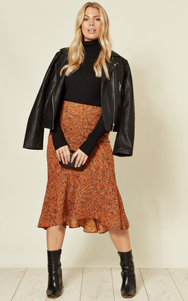 Asymmetric Frill Midi Skirt in Mustard Print by Stardust + Steel