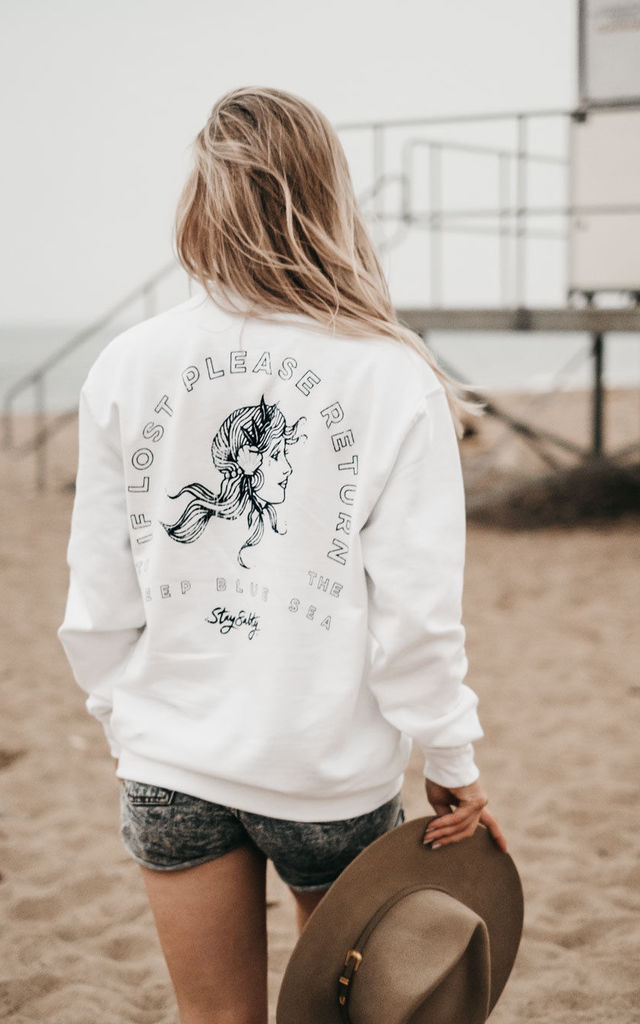 'Deep Blue Sea' White Sweatshirt with Back Print by ART DISCO