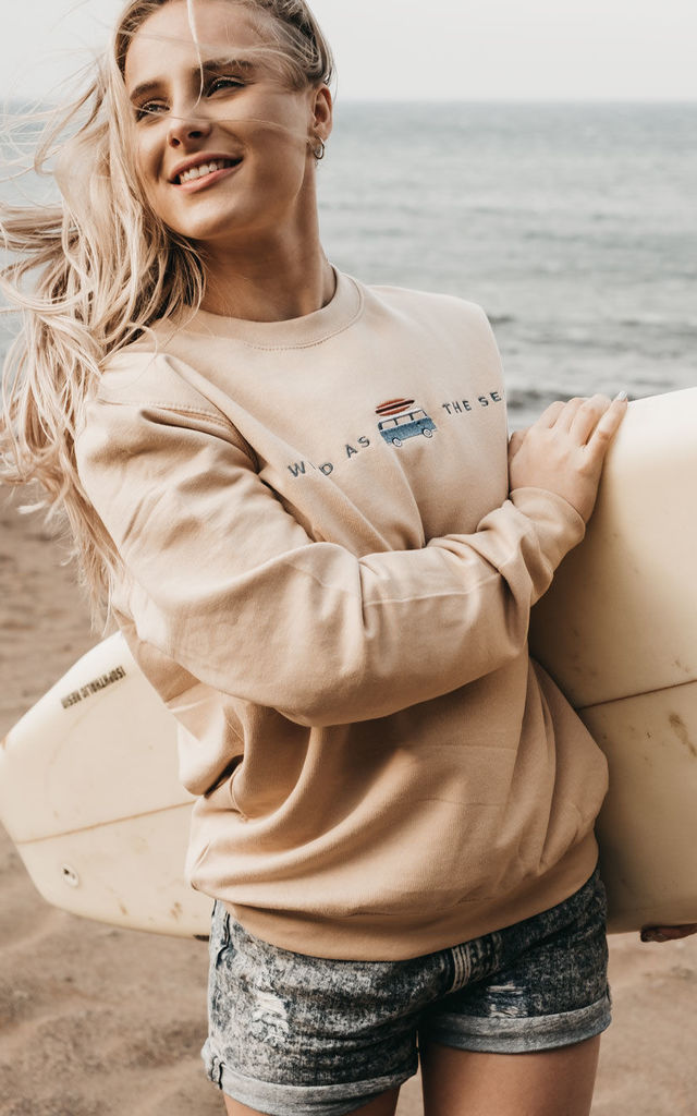 'Van Life' Embroidered Sweatshirt in Sand by ART DISCO