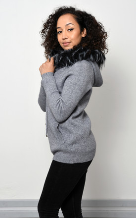 Grey Knitted Jacket With Faux Fur by Lucy Sparks