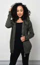 Khaki Knitted Jacket With Faux Fur by Lucy Sparks