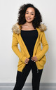 Yellow Knitted Jacket With Faux Fur by Lucy Sparks