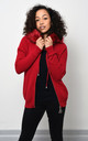 Red Knitted Jacket With Faux Fur by Lucy Sparks