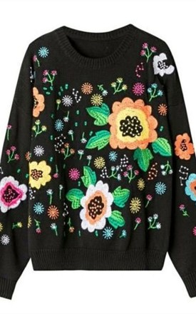 Multi Floral Embroidered Knitted Jumper by Emily & Me