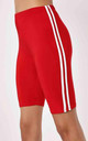 Red Side Stripe Cycling Shorts by Oops Fashion