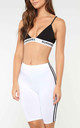 White Side Stripe Cycling Shorts by Oops Fashion