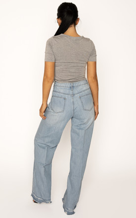 Light Blue Wide Leg Boyfriend Jeans with Raw Hem by Glamour Outfitters