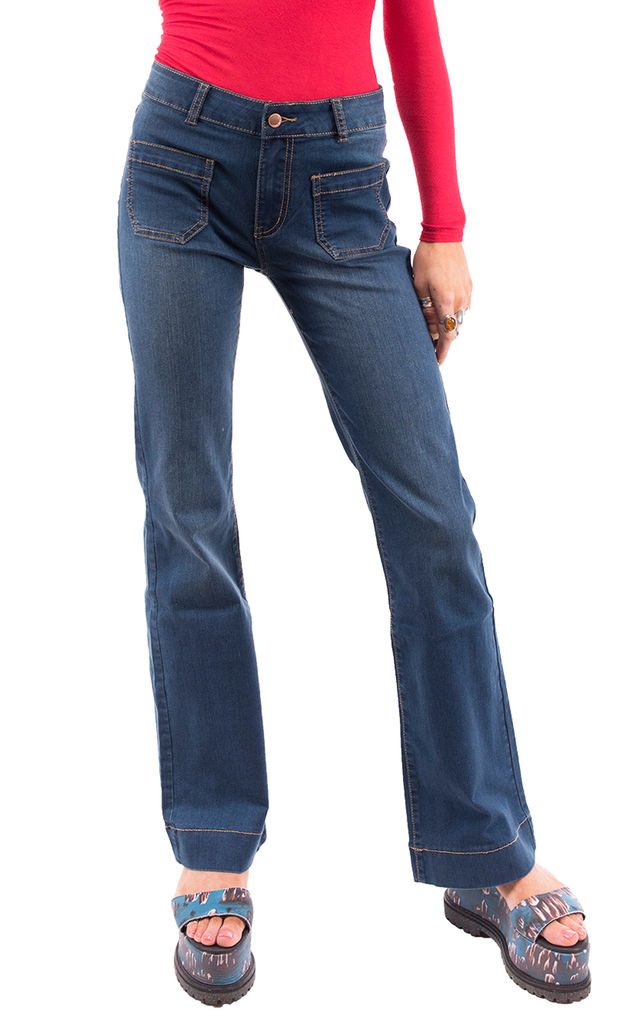 Blue Mid Rise Bootcut Jeans by Glamour Outfitters