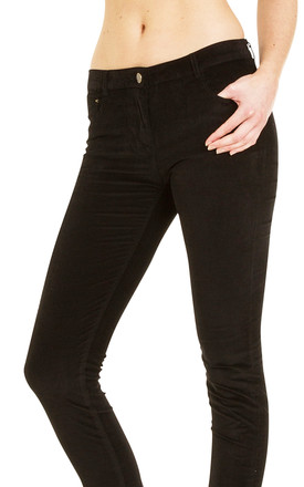Slim Fit Stretch Trousers in Black Velour Cord by Glamour Outfitters