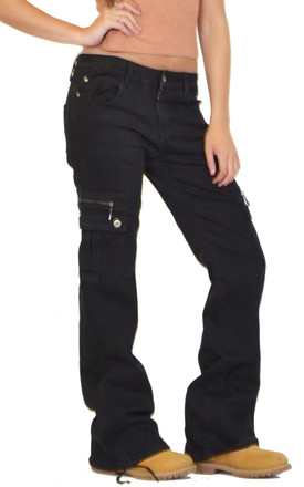Black Wide Leg Cargo Jeans by Glamour Outfitters