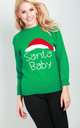 Green Christmas Jumper With Santa Baby Slogan by Oops Fashion