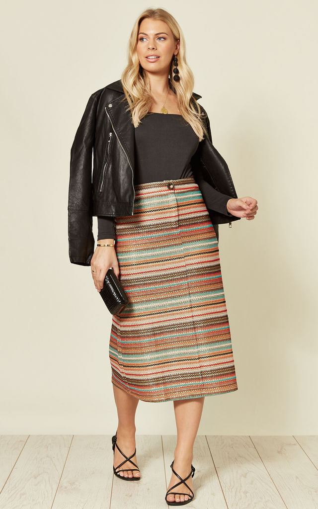 Ali Midi Skirt in Multicoloured Stripe by Traffic People