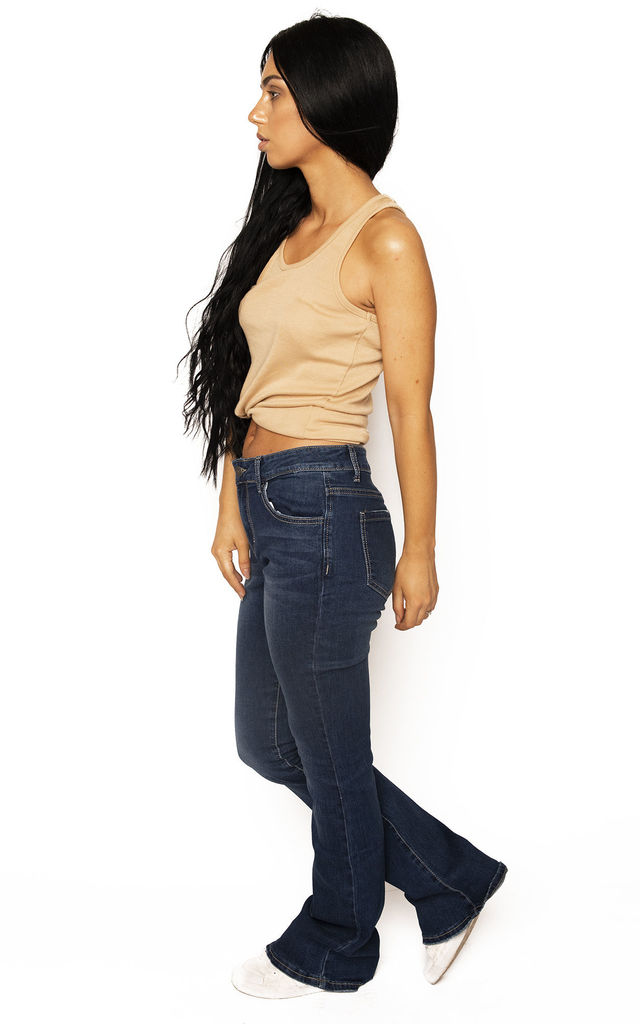 Dark Blue Mid Rise Bootcut by Glamour Outfitters