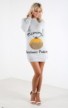 Maternity Jumper Dress in Grey Christmas Pudding Print by Oops Fashion
