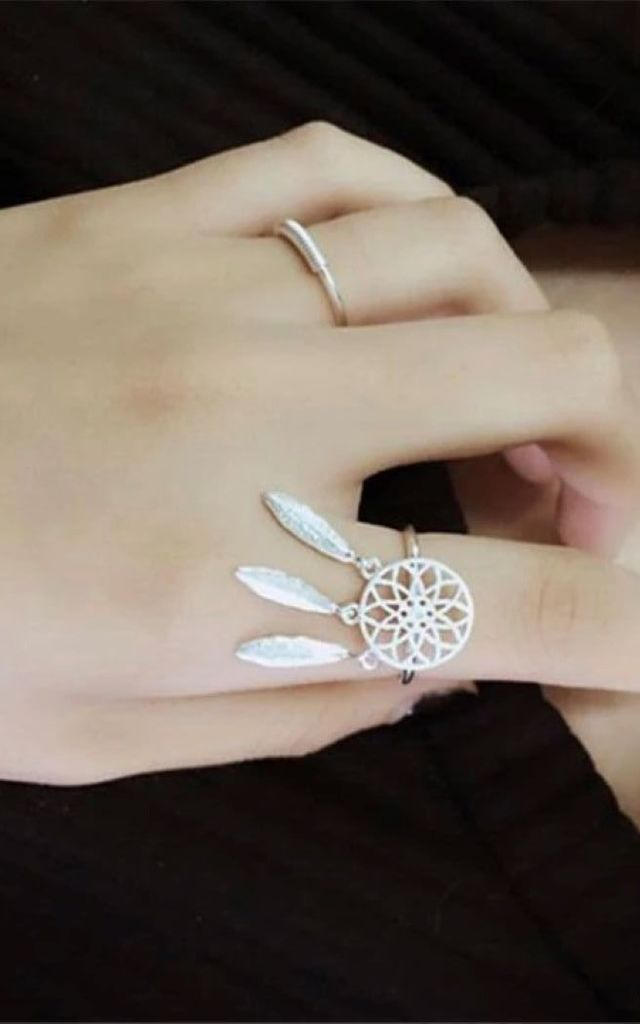 Silver Dream Catcher Adjustable Ring by Collections by Hayley