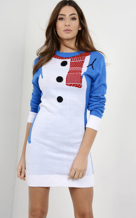 Christmas Jumper Dress In Blue Snowman by Oops Fashion