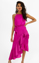 Ariana Pink Halter Frill Dress by Style Cheat