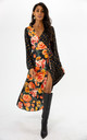 Chessie Floral Wrap Long Sleeve Midi Dress by Style Cheat