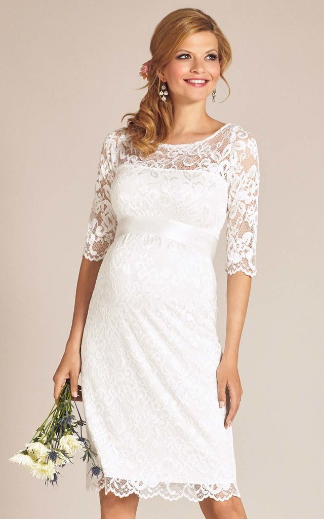 Amelia Maternity Lace Wedding Dress In Ivory White By Tiffany Rose Maternity