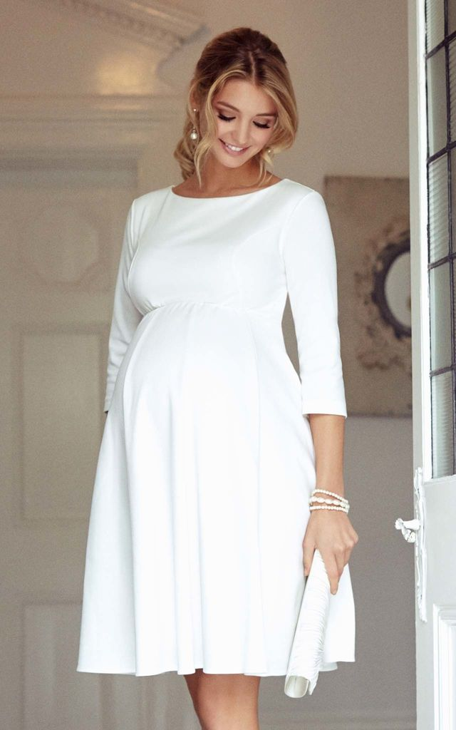 Sienna Tailored Maternity Dress in Cream by Tiffany Rose Maternity