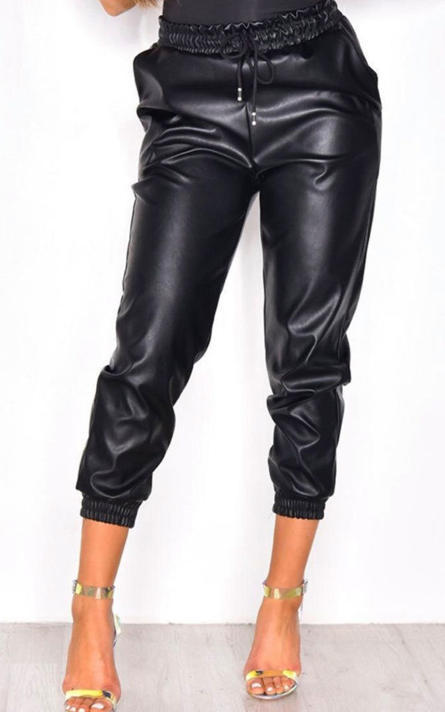 BLACK SHINY VINYL TROUSERS by The Fashion Bible