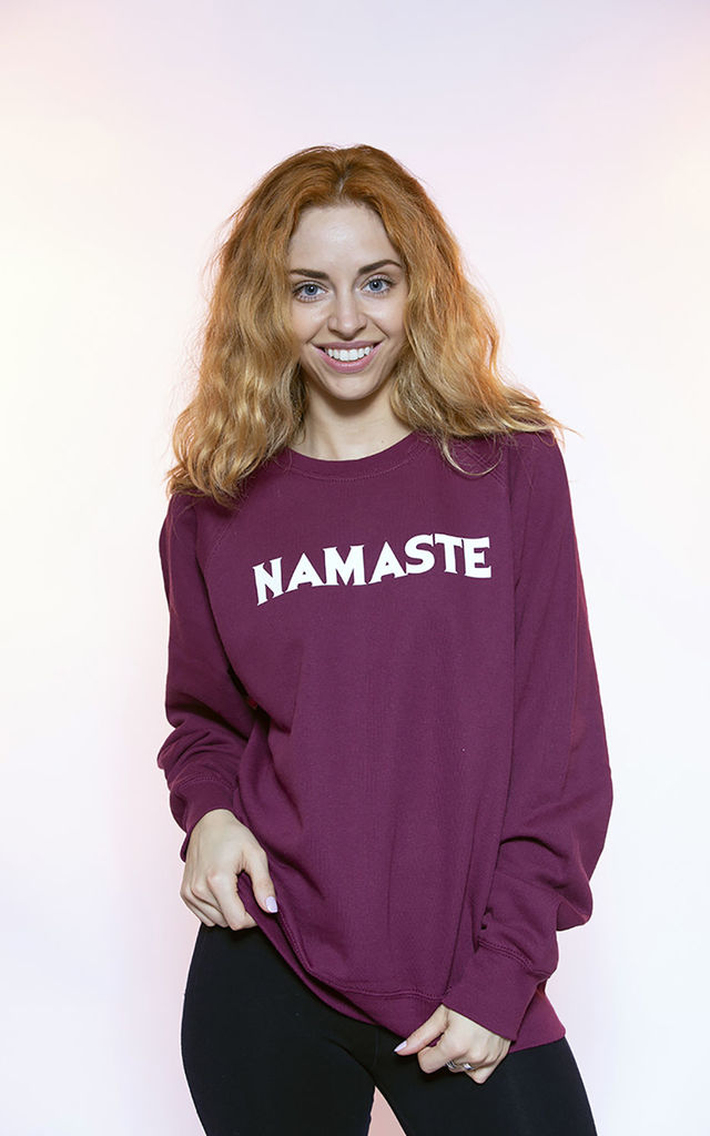 Burgundy Jumper in Namaste Slogan by Top Threads