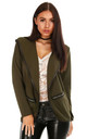 Sasha Jacket in Khaki with Contrast Piping by Oops Fashion