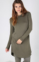 Chloe Oversized Long Sleeve Sweater Dress in Kaki by Oops Fashion