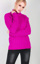 Roll Neck Cable Knit Jumper In Fushia by Oops Fashion