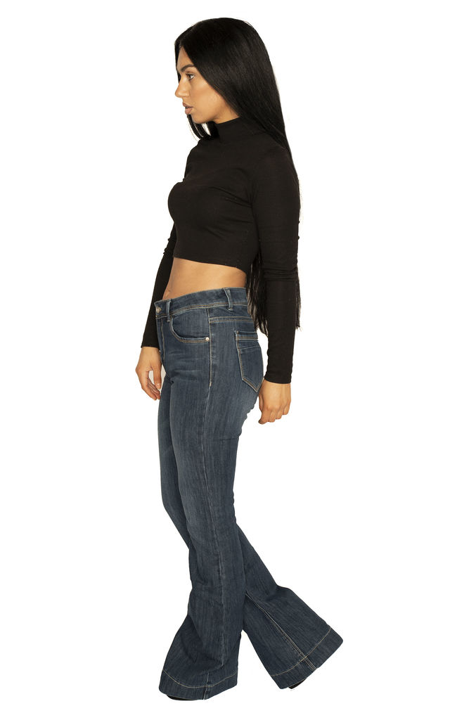 Dark Blue Long Leg Bootcut Jeans by Glamour Outfitters