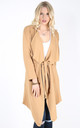 Long Sleeve Waterfall Belted Jacket In Camel by Oops Fashion