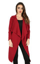 Long Sleeve Waterfall Belted Jacket In Wine by Oops Fashion