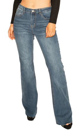 Blue Bootcut Jeans with Raw Hem by Glamour Outfitters