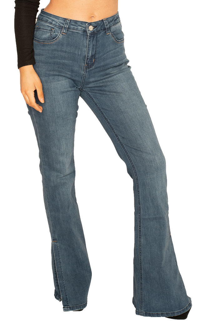 Blue Bootcut Jeans with Slits by Glamour Outfitters