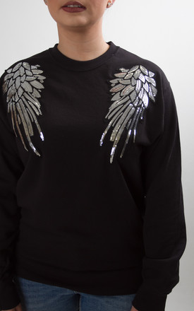 Oversized Black sweatshirt jumper with front angel wings by Fearless Alice Custom