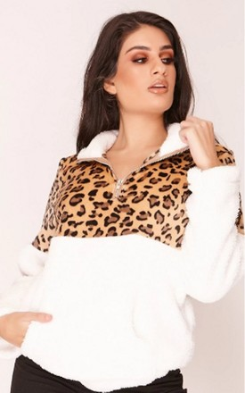 White Leopard Print Teddy Jacket by Hachu