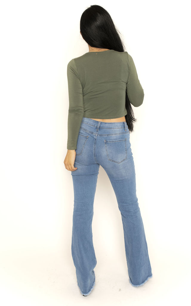 Blue Long Leg Bootcut Jeans with Raw Hem by Glamour Outfitters