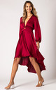 Burgundy Dip Hem Wrap Front Dress with Long Sleeves by URBAN TOUCH