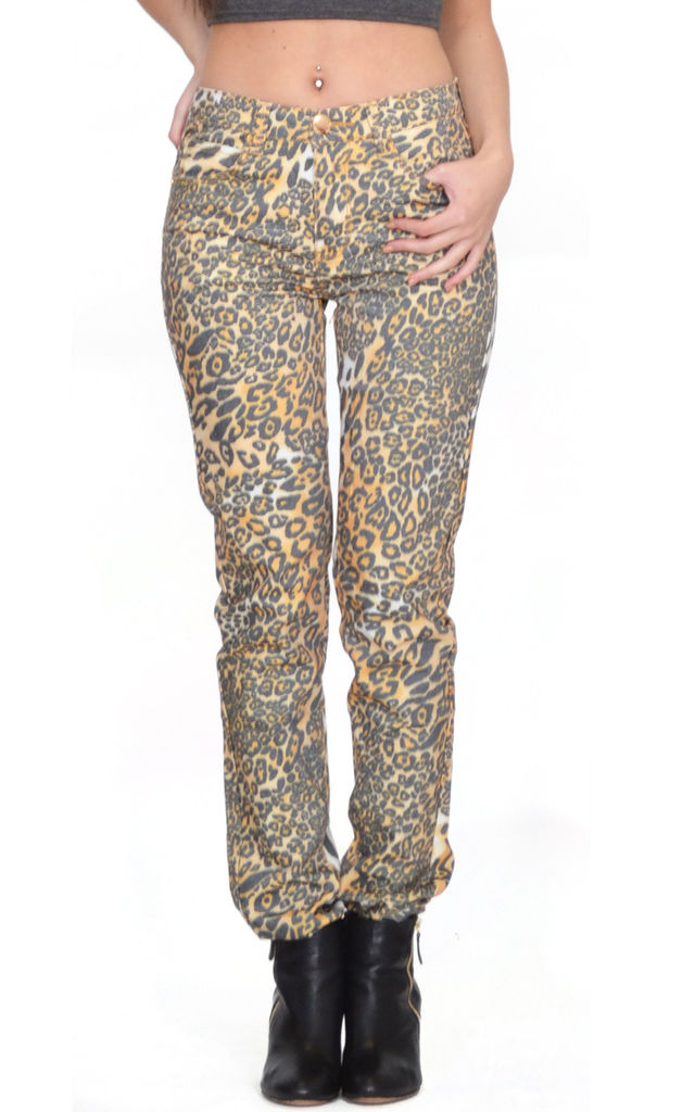 Leopard Animal Print Slim Trousers by Glamour Outfitters