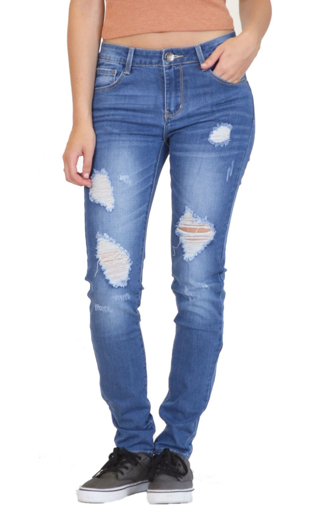 Skinny Jeans in Stonewash Blue Low Rise Ripped by Glamour Outfitters