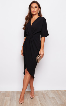 Chelsea Half Sleeve Wrap Detailing Midi Dress Black by Girl In Mind