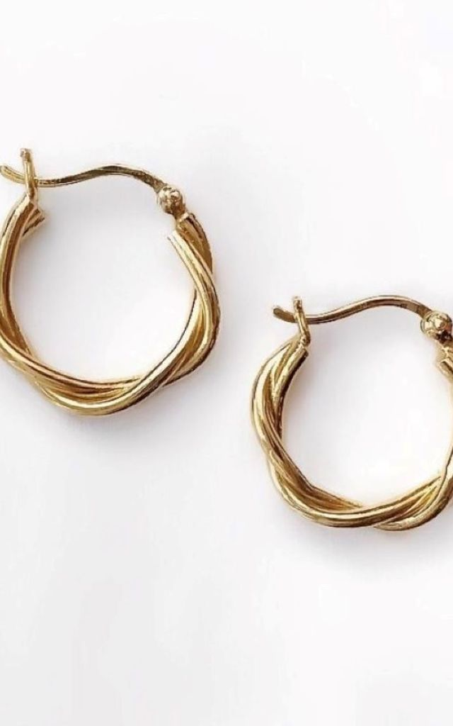 Gold Plated Twisted Rope Hoops by Ammé London Jewellery
