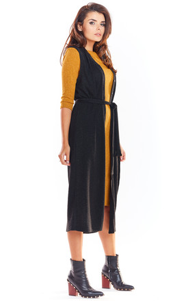 Long Vest Tied at Waist in Black by AWAMA